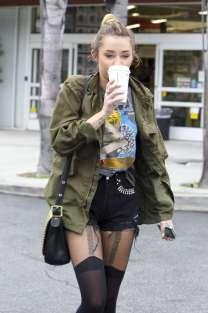 Miley Cyrus - Leggy in Black Denim Shorts Leaving Starbucks in Hollywood-01